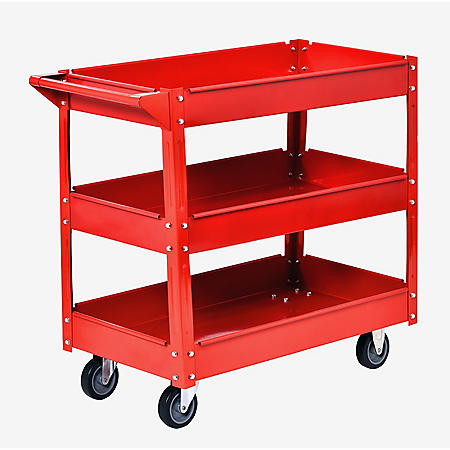 Muscle Rack Steel Industrial Commercial Service Cart (Red)