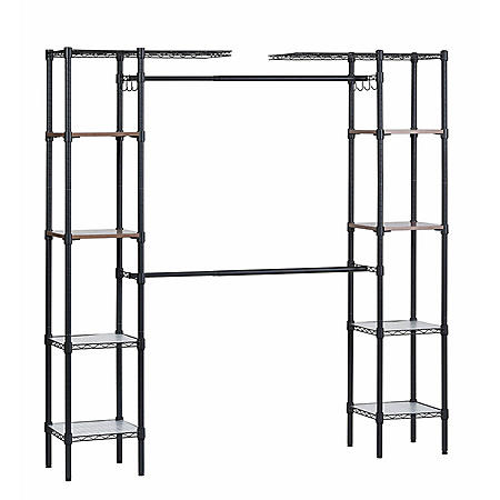 "Muscle Rack Steel Garment Rack with Adjustable Shelves (Black, 55"" W x 72"" H x 14"" D)"