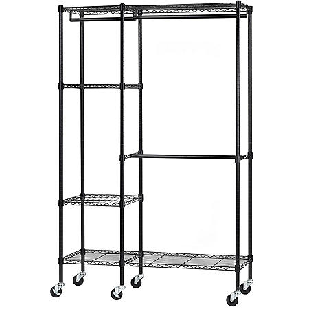 "Muscle Rack 4-Shelf Steel Garment Rack with Wheels (Black, 48"" W x 74"" H x 18"" D)"