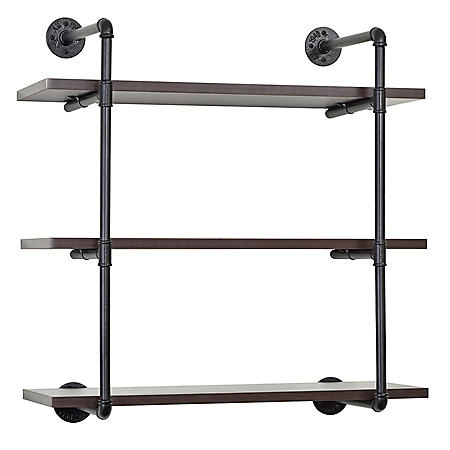 3-Tiered MDF and Metal Pipe Floating Wall Shelf