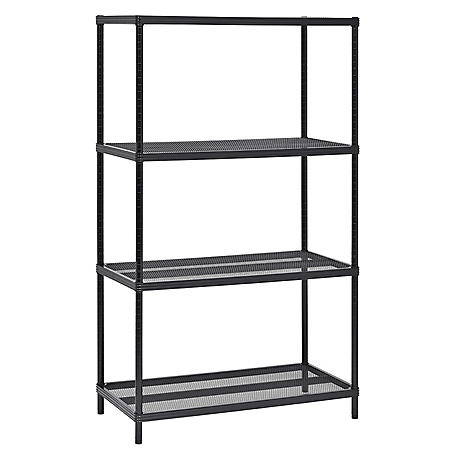 Muscle Rack 4-Tier Mesh Shelving Unit (Black, 36 in. W x 59 in. H x 18 in. D)