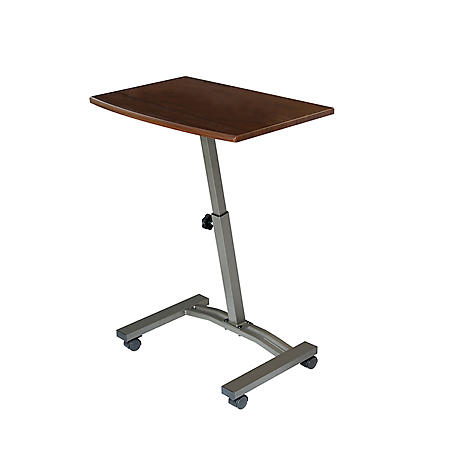 "Seville Classics 23"" Adjustable Rolling Laptop Desk Cart, Walnut"