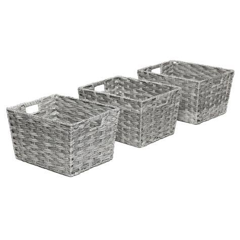 Seville Classics Decorative Woven Storage Baskets (Set of 3)