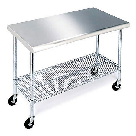 "Member's Mark Work Table with 49"" Stainless Steel Top"