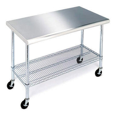 members mark work table with stainless steel top 49 - Kitchen Prep Table Stainless Steel
