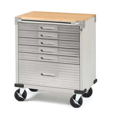 Seville classics ultrahd 6 drawer rolling cabinet sam 39 s club for Premade kitchen drawers