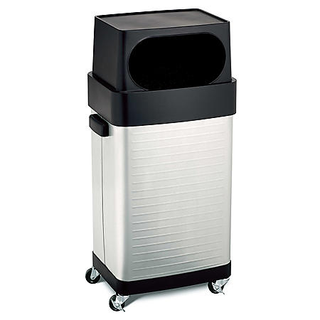 ROLLING TRASH CAN STAINLESS STEEL