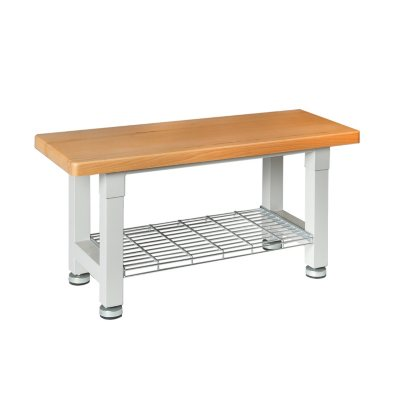 Seville Classics UltraHD Wood Bench With Storage Shelf
