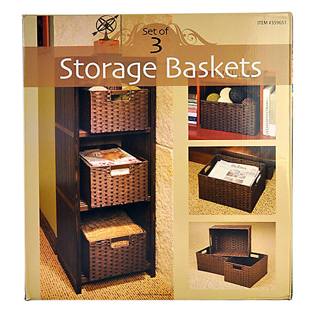 3PC BASKET SET CUT-IN HANDLES