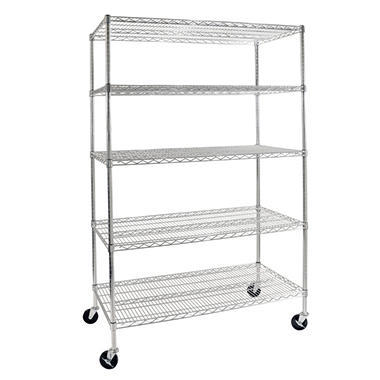 costco metal shelves seville classics 5 level shelving with wheels 14110