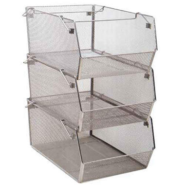 stackable mesh bins 3 pk