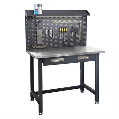 seville classics ultrahd lighted stainless steel top workbench sam 39 s club. Black Bedroom Furniture Sets. Home Design Ideas