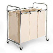 Seville Classics 3-Bag Commercial Chrome-Plated Laundry Sorter