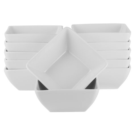"""10 Strawberry Street Whittier Square 6.5"""" Bowls, Set of 12"""