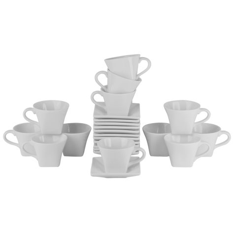 10 Stawberry Street Whittier Square 8-oz. Flared Cups & Saucers, Set of 12