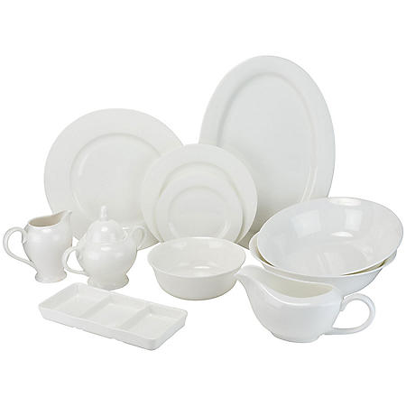 Round Rim 32-Piece Bone China Dinnerware Set