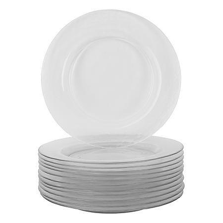 "10 Strawberry Street Hammered Glass 10.7"" Dinner Plates, Set of 12"