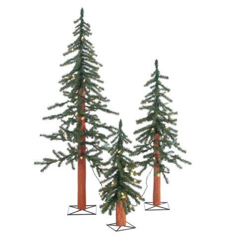 Pre-Lit Alpine Trees 3-Piece Set