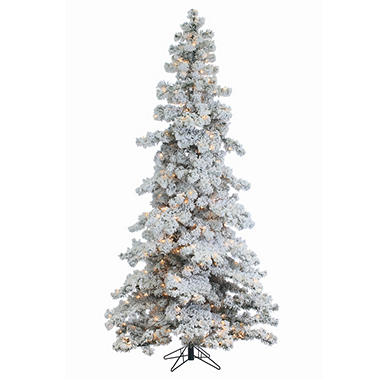 Flocked Pre Lit Christmas Tree