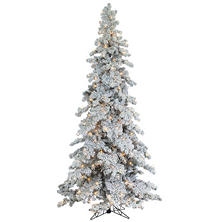 9' Pre-Lit Heavy Flocked and Layered Spruce Christmas Tree