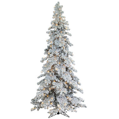 9' Pre-Lit Heavy Flocked and Layered Spruce Christmas Tree - 9' Pre-Lit Heavy Flocked And Layered Spruce Christmas Tree - Sam's Club