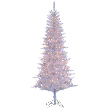 7.5' White Tiffany Tinsel Christmas Tree