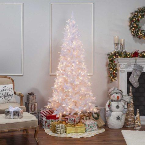 7.5' White Tiffany Tinsel Christmas Tree