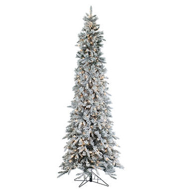 9' Pre-Lit Narrow Design Flocked Pencil Pine Christmas Tree