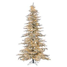 7.5' micro LED Pre-Lit Flocked Wyoming Snow Pine Christmas Tree