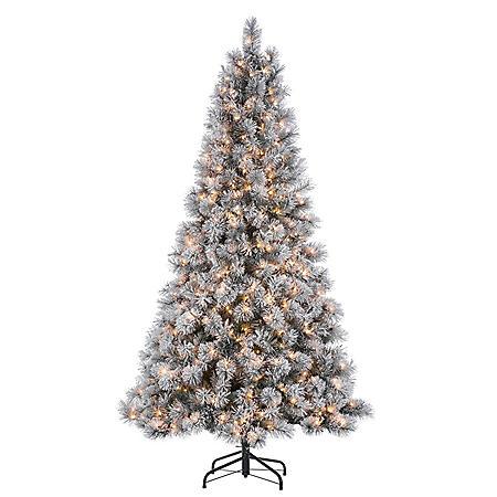 7.5' Flocked Mixed Needle Pine Christmas Tree