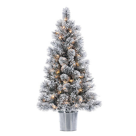 4.5' Potted Flocked Christmas Tree