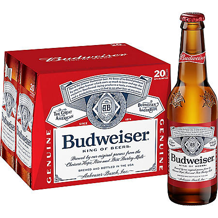 BUDWEISER 20 / 12 OZ BOTTLES