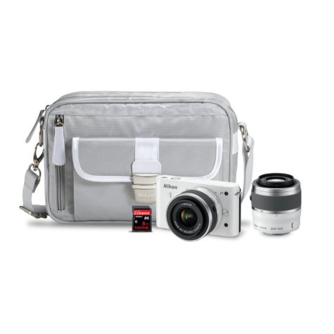 Nikon J1 10.1MP Mirrorless Digital Camera with 10-30mm and 30-110mm Lenses - White