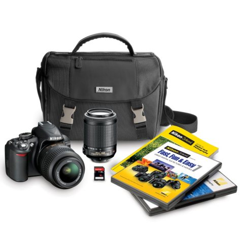 Nikon D3100 14.2MP DSLR Camera Bundle with 18-55mm VR Lens, 55-200mm VR Lens, DSLR Bag, and 16GB SDHC Card