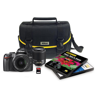 Nikon D3000 10.2 MP DSLR Bundle with 18-55mm and 55-200mm Lenses, 8GB Card and Bag