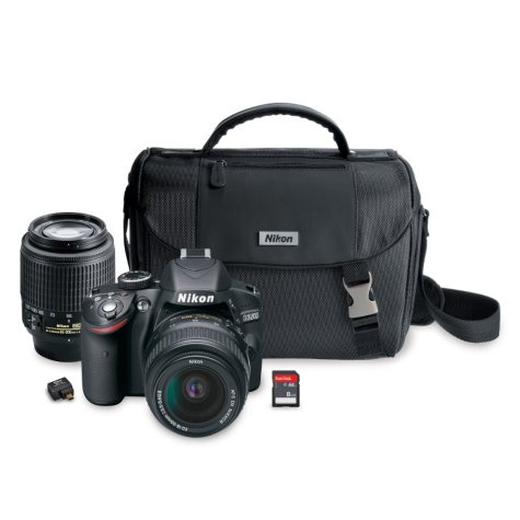 Nikon D3200 24.2 MP HD-SLR Camera Bundle with 18-55mm and 55-200mm Lenses, Wi-Fi Adapter, Camera Case and 8GB SD Card