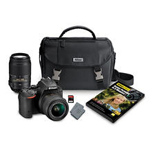 Nikon D5500 24.2MP CMOS Sensor DSLR 2-Lens Bundle, with 18-55mm VR II Lens, 55-300MM VR Lens, Camera Case and 32GB Memory Card
