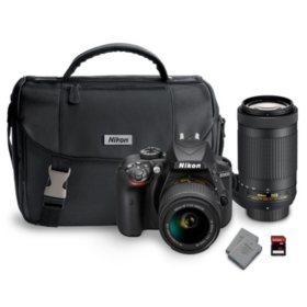 Nikon D3400 DX Bundle with AF-P DX NIKKOR 18-55mm and 70-300mm Lens- Various Colors