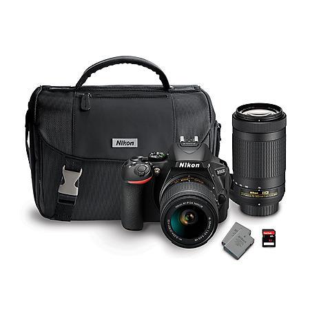 Nikon D5600 24MP CMOS DSLR with 18-55mm VR Lens, 70-300mm Lens, Camera Bag, and 32GB SD Card