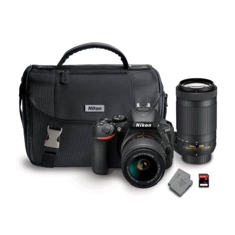 Nikon D5600 24MP CMOS DSLR with 18-55mm VR Lens, 70-300mm Lens, Camera Bag, and 32GB SD Card