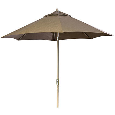 9' Aluminum Market Umbrella - Dupione Walnut