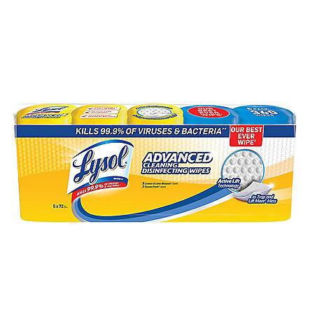 Lysol Advanced Cleaning Disinfecting Wipes, Variety Pack (5 pk., 72 ct. each)