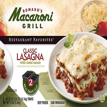 Romano's Macaroni Grill Lasagna; 2 - 40oz. Trays