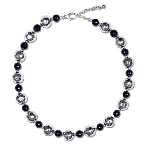 Sterling Silver and Black Onyx Beaded Necklace