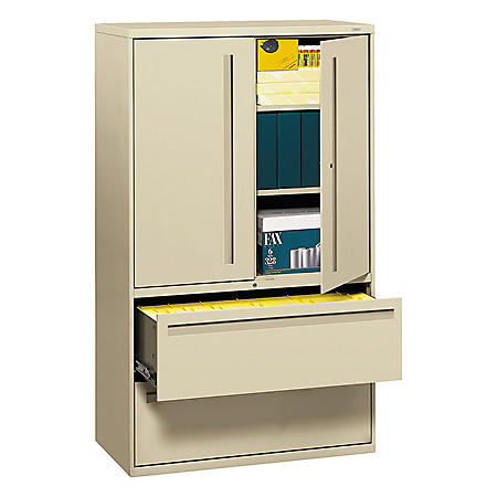 "HON 42"" Wide 700 Series Lateral File with Storage Cabinet, Select Color"