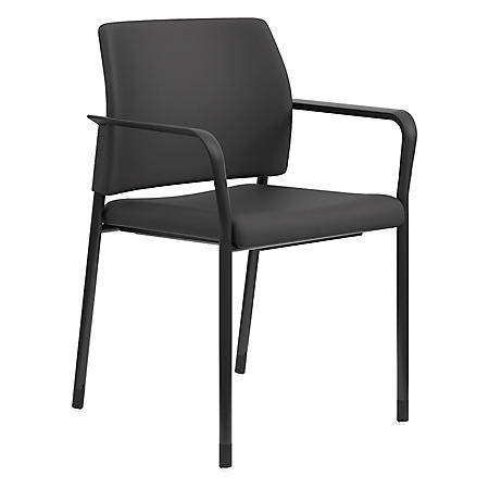 HON Accommodate Series Fabric Guest Chair with Fixed Arms, Black