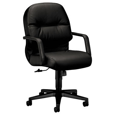 HON - Leather 2090 Pillow-Soft Series Managerial Mid-Back Swivel/Tilt Chair - Black