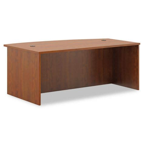 basyx BL Laminate Series Bow Front Desk Shell, Medium Cherry