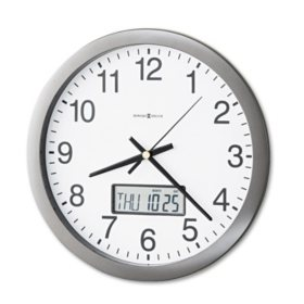 """Howard Miller Chronicle 14"""" Wall Clock with LCD Inset, Gray"""