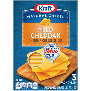 Kraft Mild Cheddar Cheese Slices 8 Oz 3 Pk
